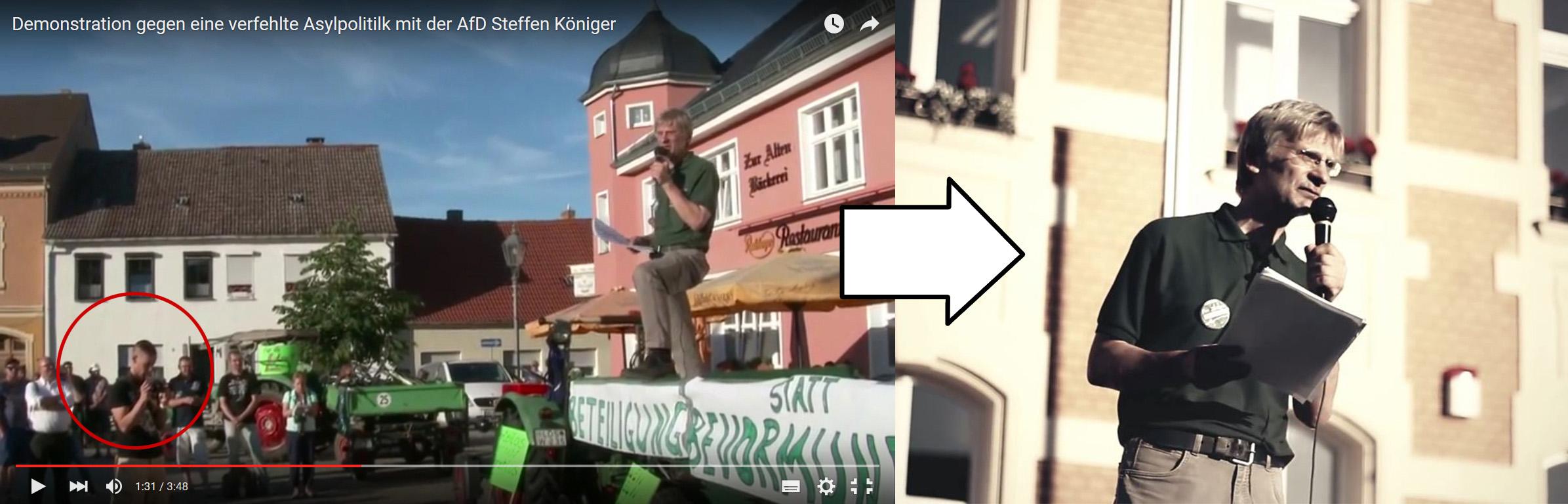 Auf einem Clip der AfD Brandenburg zu erkennen: Martin Muckwar filmt für den Verein »Zunkunft Heimat«, Rechts: Veröffentlichtes Video von »Zunkunft Heimat« (30. Juni, Golßen)