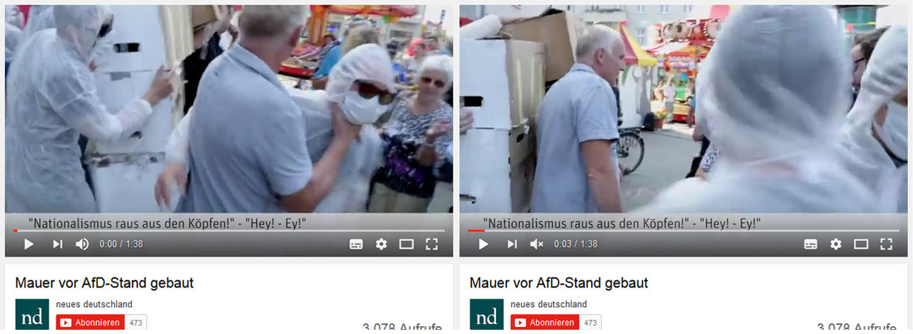 Pankefest 2016: Antifaschist*innen, die es gewagt haben Pappkartons vor einem AfD-Stand aufbauten werden von Olaf Busch angegriffen.